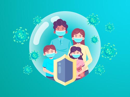 картинка с семьей защищающейся щитом от бактерий вируса